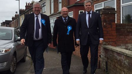 Tory party chairman Patrick McLoughlin, leader of Great Yarmouth Borough Council Graham Plant and Gr