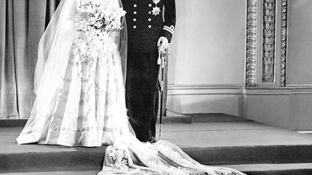 Princess Elizabeth and Lt Philip Mountbatten at Buckingham Palace after their wedding ceremony. Pict