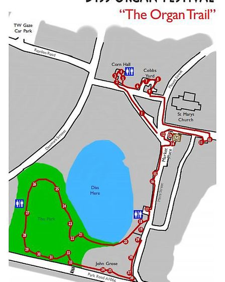 Diss OrganFestival Trail Map 2017. picture: ALAN SMITH