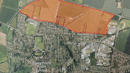 A map showing the area of Fakenham which has been earmakred for the development. Picture: Matthew Us