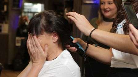 Jody Donaldson from Great Yarmouth, as she goes for her sponsored head shave and to lose her lovely