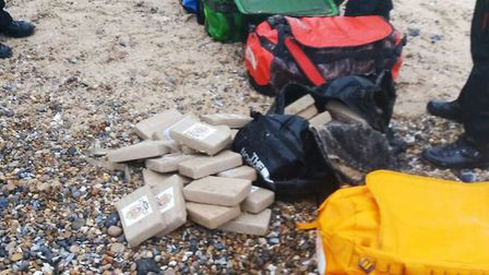Holdalls found washed up on Hopton beach near Great Yarmouth, containing around 360 kilos of cocaine