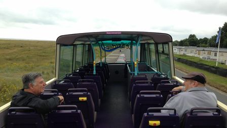 The Seasider open top bus in Great Yarmouth, from its maiden voyage last year. Photo: George Ryan