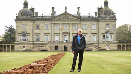 Earth Sky is the new exhibition at Houghton Hall. Here artist Richard Long is pictured with A Line i
