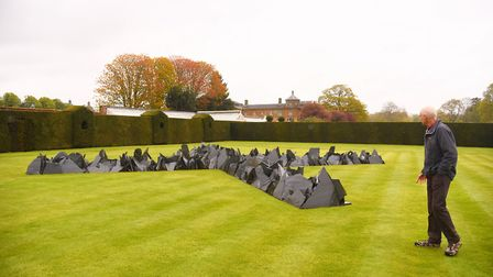 Earth Sky is the new Richard Long exhibition at Houghton Hall. Pictured is The Houghton Cross. Pictu