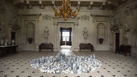 Earth Sky is the new Richard Long exhibition at Houghton Hall. Pictured is North South East West. A