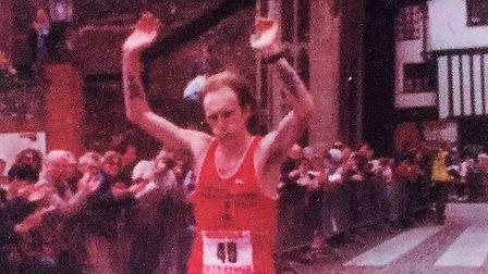 Neil Featherby on his way to the first of his four victories in the Norfolk Marathon in 1986. Pictur