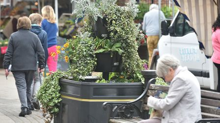 Large plant pots around Beccles town center are being repeatedly vandalised.Picture: Sonya Duncan.