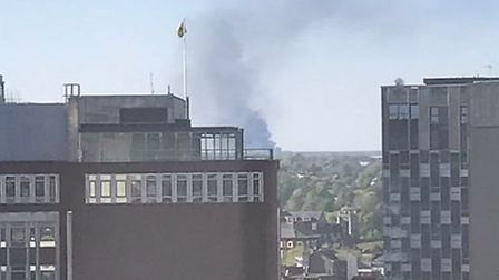 Smoke can be seen from Norwich city centre. Picture: @CharlieKeohane