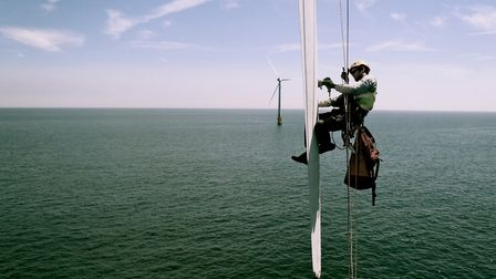 An Altitec technician working at Scroby Sands. Picture: Altitec.