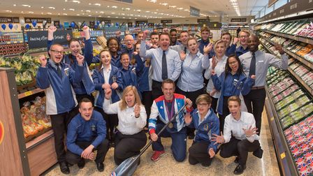 Manager Stuart Calver and his team with Team GB athlete Tim Baillie on the opening day of the new A