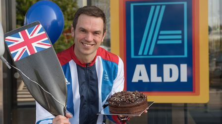 A birthday cake for Team GB athlete Tim Baillie on the opening day of the new Aldi store, Hall Road,