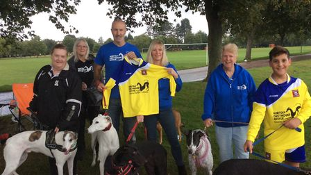 Members of Norfolk Greyhound Rescue. Centre is Richard and Hayley Pattrick, who run the charity. Pic
