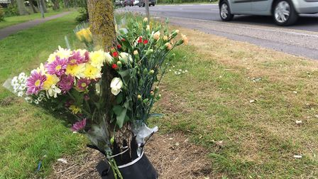 Floral tributes have been left at the roadside at Caister. Photo: Archant
