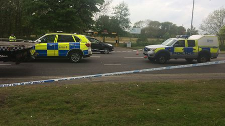 Emergency services at the scene following the Caister Road crash. Picture: Anthony Carroll