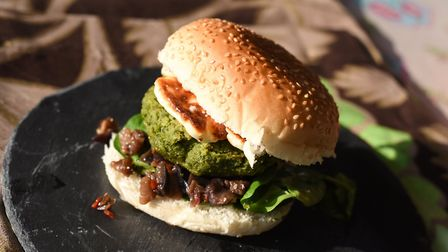 Broad bean burger with sticky aubergine jam and halloumi. Picture: Sarah Lucy Brown
