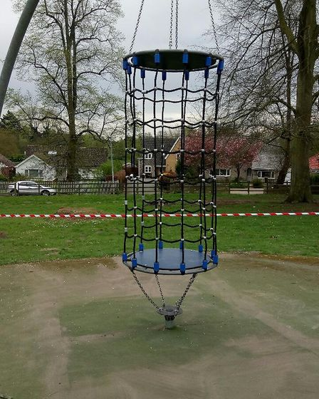 The cage swing at Thetford's Castle Park after repairs to damage it from previous vandalism. Picture