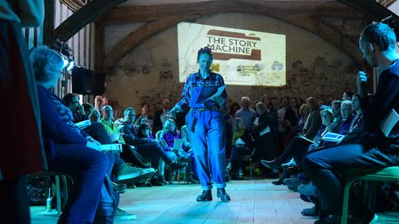 Poets and writers take over Dragon Hall to entertain audiences in The Story Machine in 2016. PHOTO B