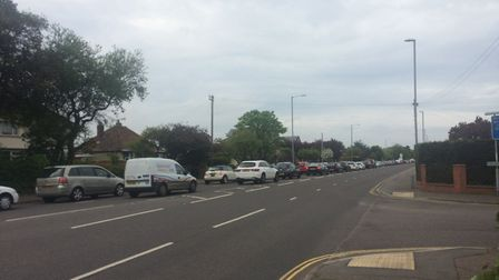 Traffic backing up on Caister Road after the crash Picture: Anthony Carroll