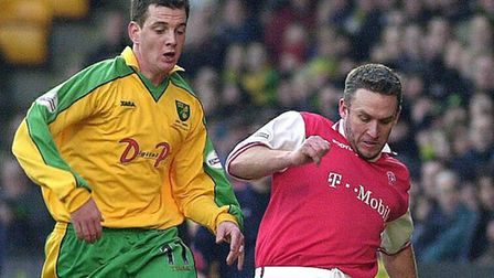Nationwide League Div One Norwich City v Rotherham United at Carrow Road Chris Llewellyn going for
