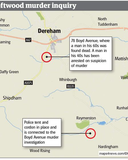 A map showing the scene of the murder in Dereham and the area, in Hardingham, where the bag was dump