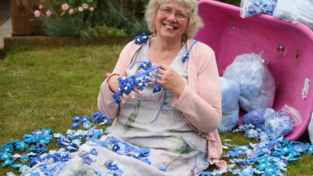 Dianne Fernee, organiser of the Wymondham Dementia Support Group, with some of the knitted and croch