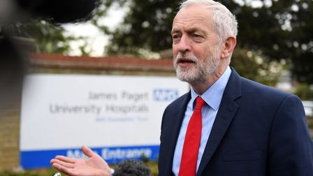 Labour leader Jeremy Corbyn at the James Paget Hospital in Gorleston, to talk about the internationa