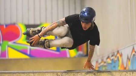 The Shed Skatepark at Lynnsport has been refurbished. Pictured is Lee Minor. Picture: Ian Burt