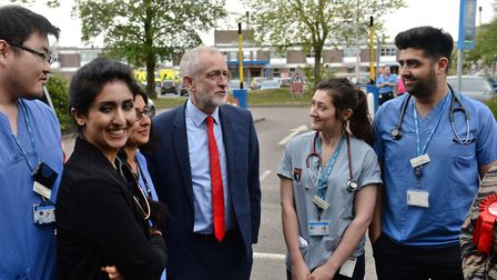 Labour leader Jeremy Corbyn speaks with junior doctors at the James Paget Hospital in Gorleston, dur