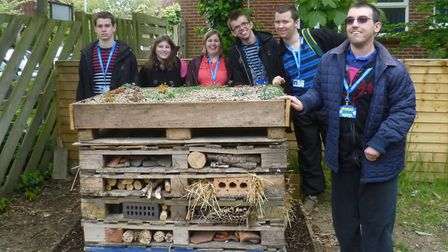 Supported Learning students from City College Norwich with the Bug Hotel. Picture: City College Norw