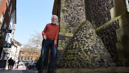 Anti Urination Devices in Norwich city centre. Author Ray Loveday with one of the AUDs in St Gregory