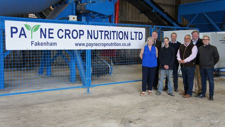 The opening of the new Payne Crop Nutrition factory in Fakenham. Front row (L-R): Miriam Waller, Ric