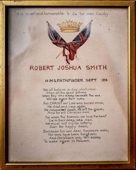 The commemorative scroll given to Royal Navy sailor Robert J Smith�s family after he was killed on t