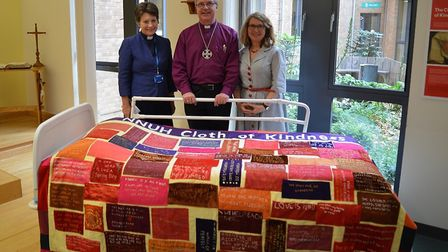 From left, NNUH Chaplain Eleanor Langan, Bishop of Norwich Rt Rev Graham James and Sally-Anne Lomas.