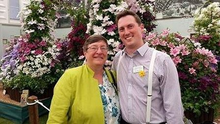 Peter Skeggs-Gooch of Thorncroft Clematis with Christine Walkden at Chelsea flower show. Photo: Supp