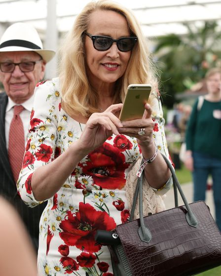 Rupert Murdoch and his wife Jerry Hall during a press day ahead of the Chelsea Flower Show at the Ro