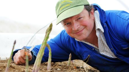 Rollesby farmer Charlie Tacon with his asparagus. Picture: James Bass