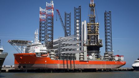 The installation vessel Pacific Orca in Great Yarmouth outer harbour being loaded up with wind turbi