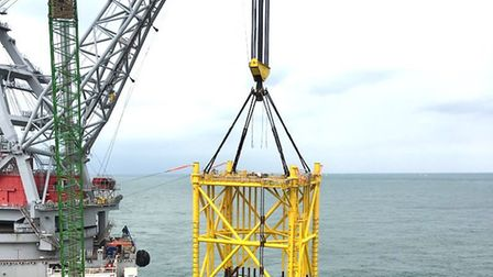 The OSP jacket installation at the Galloper wind farm site off the coast of Suffolk