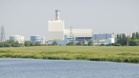King's Lynn power station, left, next to the Palm Paper factory. Picture: Ian Burt.