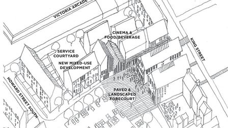 Plans for the heart of town dentre around King Street and Regent Road, where a cinema has been sugge
