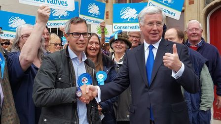 (Right to left) Michael Fallon visits Holt in support of James Wild. Picture: DONNA-LOUISE BISHOP.