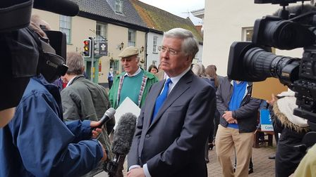 Michael Fallon visits Holt in support of James Wild. Picture: DONNA-LOUISE BISHOP.