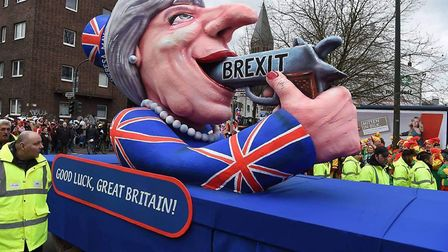 The controversial Theresa May float, which will be coming to Norwich. Pic: Unite for Europe.