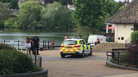 The police arriving at the scene of the fracas at Diss Mere. Picture: ANDREW PAPWORTH