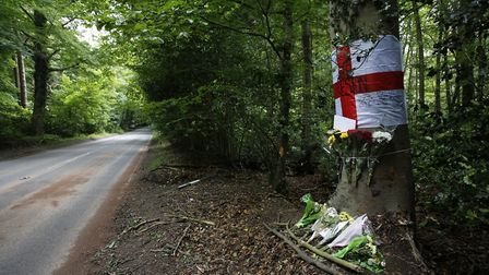 Tributes were left at the scene of the crash in Westwick. Picture: MARK BULLIMORE