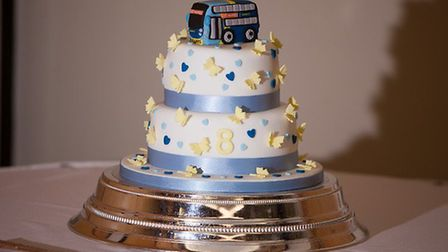 The wedding cake of Andy and Sylvia Aitken, paying tribute to the bus that helped bring them togethe