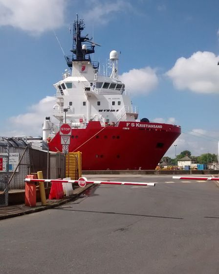 The FS Kristiansand, which gave the bird a lift. Picture: RSPCA
