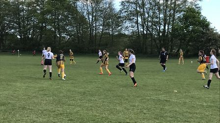 The new Beccles Town ladies' team, playing against the Beccles under 15 girls, at the youth section