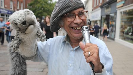 Puppet man David Perry in Norwich city centre. Picture: Paul Hewitt
